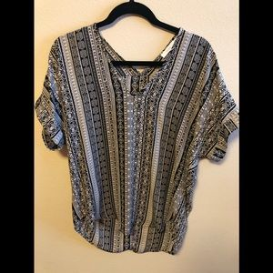 Lush Blouse Black and Cream